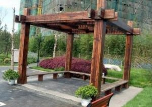 碳化木做的花架