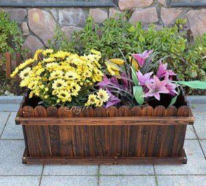碳化木制作的花箱图片